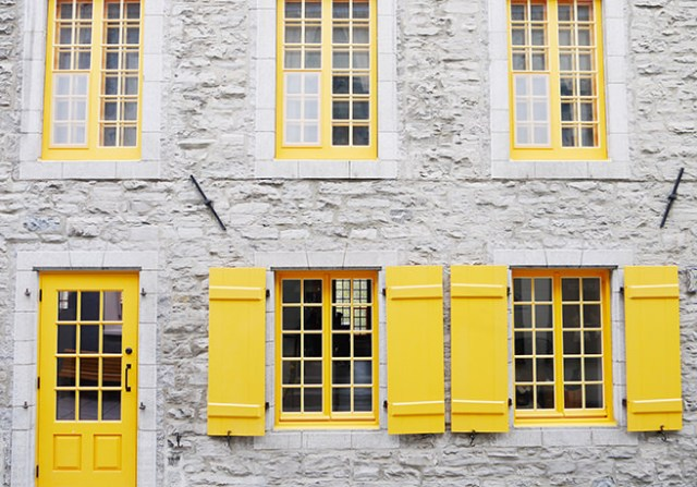 Bright yellow painted door and windows