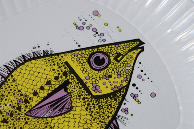 Detail of yellow and mauve Aquarius fish plate | H is for Home