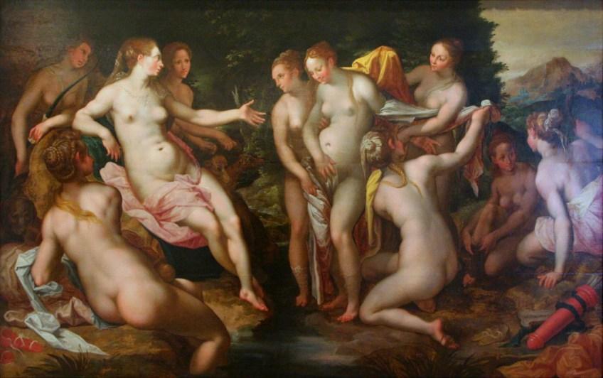 Diana (Artemis) ontdekt de zwangerschap van Callisto, Hendrick Goltzius, 1599, Bonnefantenmuseum, Maastricht