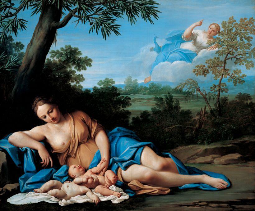 Leto en de geboorte van Apollo en Artemis (Marcantonio Franceschini)