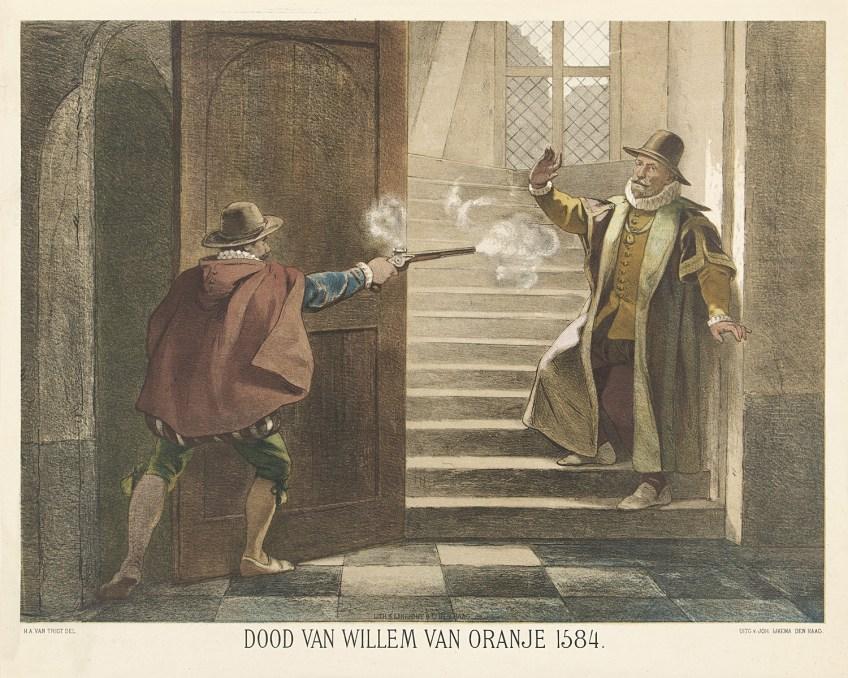 Balthasar Gerards schiet Willem van Oranje dood, 1584