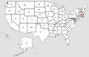 De staat Rhode Island in het rood gemarkeerd