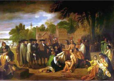 William Penn sluit een verdrag met de indianen (schilderij van Benjamin West)