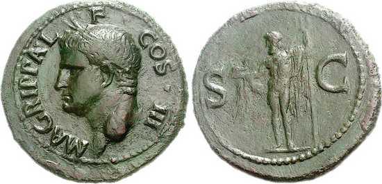 Munt met daarop de beeltenis van Marcus Agrippa