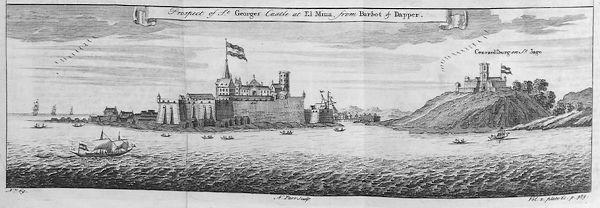 Oude tekening van het slavenfort São Jorge da Mina (St. George of the Mine)