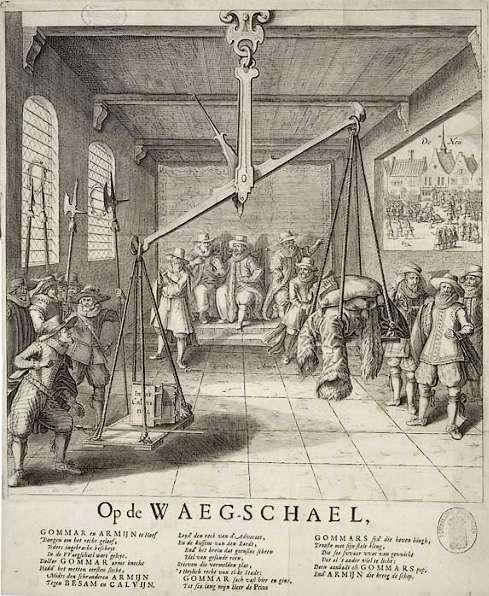 Anonieme spotprent uit 1618. De gravure laat zien hoe de contra-remonstrant Gomarus de strijd met de remonstranten won doordat prins Maurits (links) zijn zwaard op de weegschaal legde. Vers onder de prent is van Joost van den Vondel