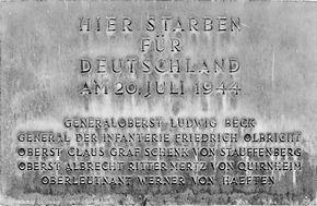 Plaquette op de plek waar de samenzweerders werden geëxecuteerd
