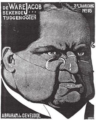 Spotprent van socialist Albert Hahn: Abraham de Ware Jacob (1904). Bron: Wikipedia.