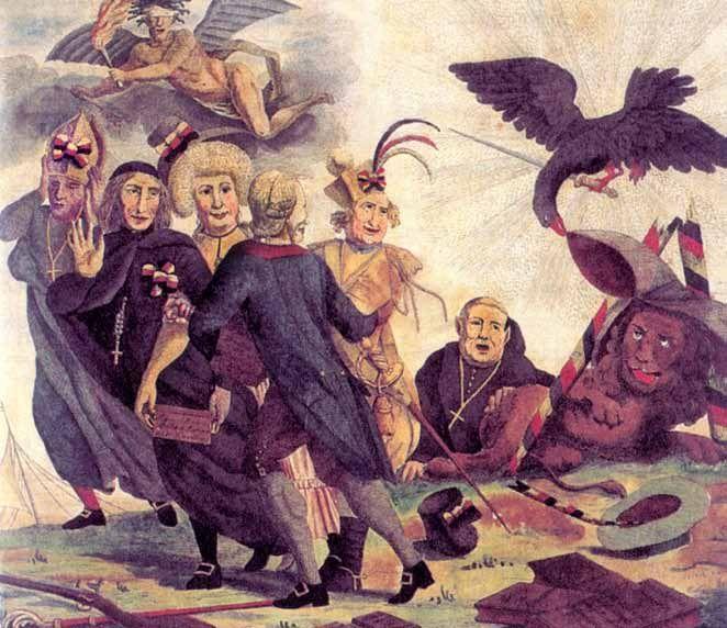 'Vertrek van het Opperste Congres van de Verenigde Belgische Provinciën'; anti-clericale spotprent (1790) op een bewind, bedreigd door interne en externe krachten en gedomineerd door conservatieven, geestelijkheid en adel. De keizerlijke arend (met zwaard) maakt zich op om de Belgische leeuw een verpletterende slag toe te brengen; origineel coll.  Kon. Legermuseum, Brussel.