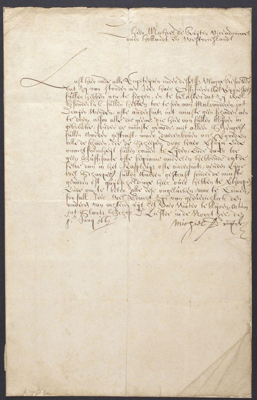 Brief van Michiel de Ruyter , 1661 - Koninklijk Bibliotheek