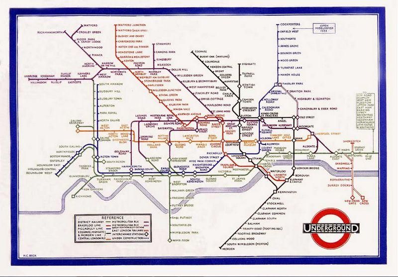 Beroemde kaart die Harry Beck in 1933 van de Londense metro maakte - Afb: tfl.gov.uk