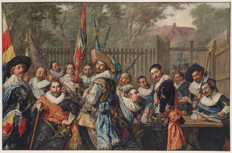 Vergadering van officieren en onderofficieren van de Cluveniersschutterij van Haarlem (naar Frans Hals), ca. 1800-10, door Wybrand Hendriks, pen in zwart, penseel in waterverf, Teylers Museum, Haarlem