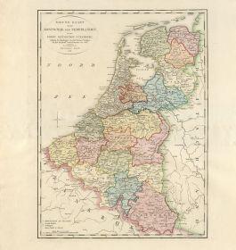 Koninkrijk der Nederlanden en het Groothertogdom Luxemburg volgens de bepalingen van het Wener Congres, uitgave François Bohn, 1816 - http://cf.uba.uva.nl/atlasderneederlanden