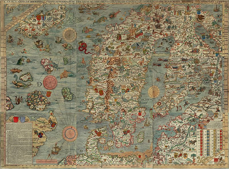 De zogenaamde Carta Marina uit 1539 van het Oostzeegebied. (Universiteit Minnesota)