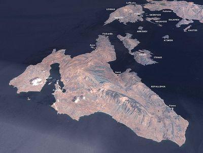 Satellietfoto van Kafelonia - NASA
