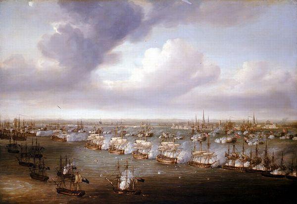 Slag bij Kopenhagen, 1801 - Doek van Nicholas Pocock