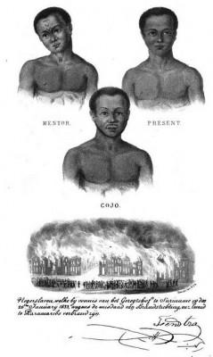Drie Surinaamse 'negerslaven' die volgens het boek 'De Negerslaven in de kolonie Suniname' in 1833 levend werden verbrand wegens brandstichting.
