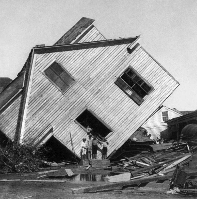 Huis nadat de verwoestende orkaan Galveston heeft aangedaan - Foto: Griffith & Griffith