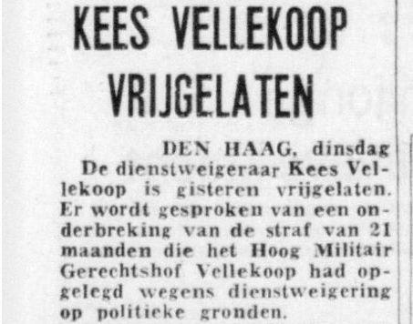 Krantenbericht over de vrijlating van Kees Vellekoop - Delpher.nl
