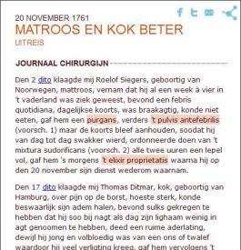 Verslag op de website van de chirurgijn over twee zieken, matroos Roelof Siegers en kok Thomas Ditmar, op 20 november 1761.