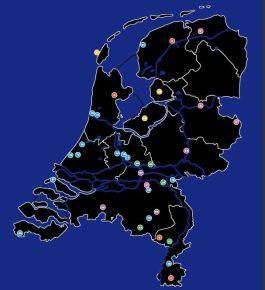 Kaart met daarop de 31 Odyssee-projecten (NWO)