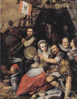Magdalena Moons en (waarschijnlijk) Francisco Valdez. Detail op schilderij 'De overgave van Weinsberg', Jan Cornelis van 't Woudt (1603)