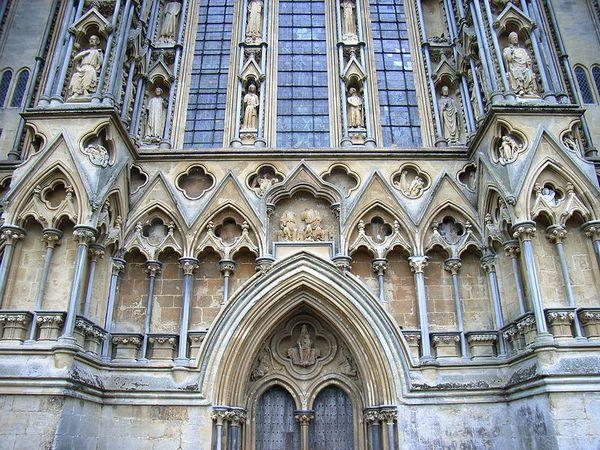 Westkant van de kathedraal van Wells - CC