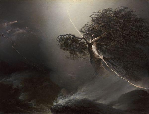 Maksim Vorobjov, Eik gespleten door een bliksemschicht (De storm), 1842. Collectie Tretjakov Galerij, Moskou