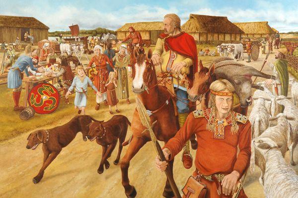 Schilderij 'Merovingen in Leidsche Rijn, ca. 675 na Chr.' (Paul Becx)