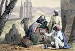Tekening uit 1845 waarop te zien is hoe Arabische handelaren kaurischelpen als geld gebruiken (Science & Society Picture Library)