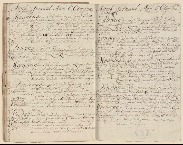 Logboek van de opperstuurman, 19-28 april 1762. (Zeeuws Archief)