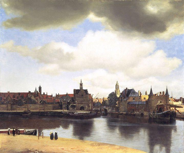 'Gezicht op Delft'  van Johannes Vermeer, een van de bekendste schilders van de Gouden Eeuw (Mauritshuis)