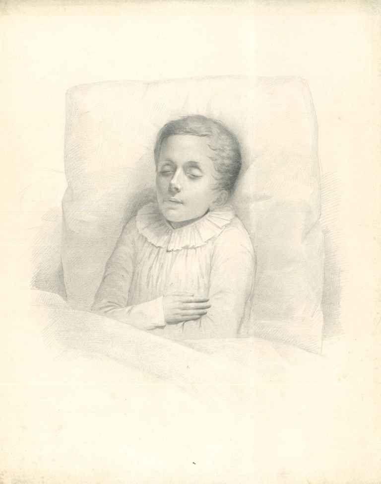Potloodtekening uit 1845 van een pas overleden jongetje met de dood als vriend of vijand