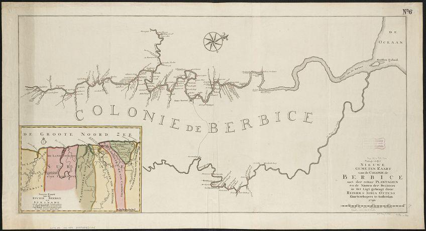 De kolonie Berbice, met het noorden op ca. 30 graden (1740). Op de kleine kaart linksonder is Berbice westelijk van Suriname gestitueerd. Opmerkelijk is dat de Caribische Zee op die kaart als 'Groote Noord Zee' wordt aangeduid.