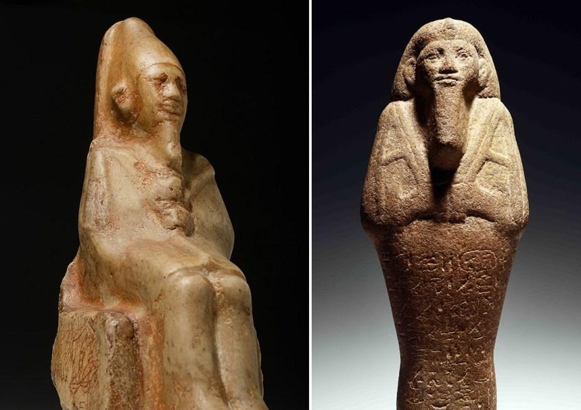 De twee faraobeelden. Links farao Ninetjer en rechts farao Taharka(RMO)