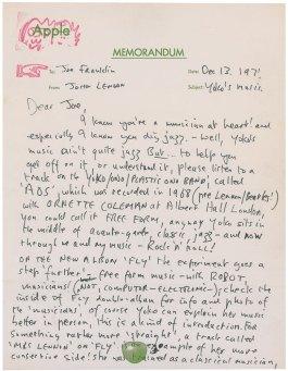 Brief van Jon Lennon (RR Auctions)