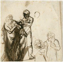 Schets van Rembrandt, als voorbereiding voor zijn ets 'Adam en Eva' (1638)