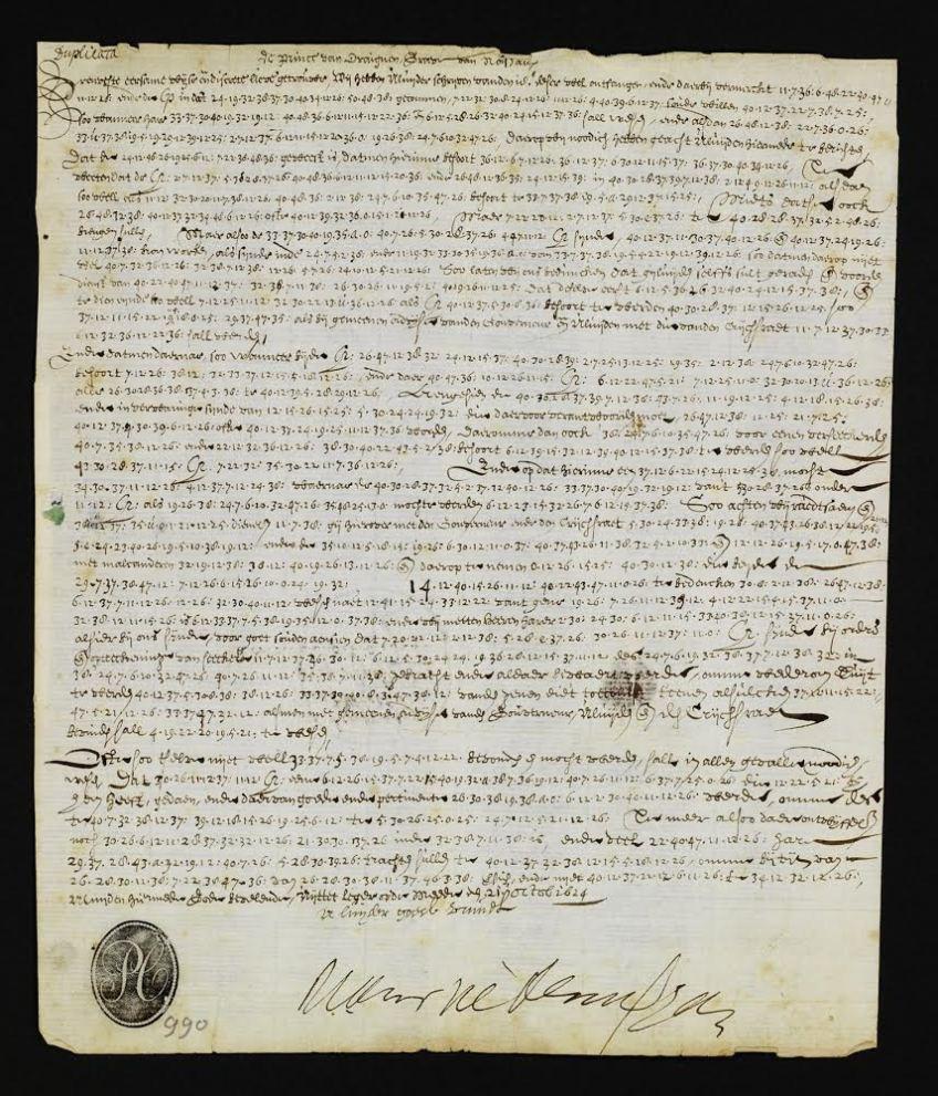 Een in code geschreven brief van prins Maurits aan het stadsbestuur van Breda, 1624