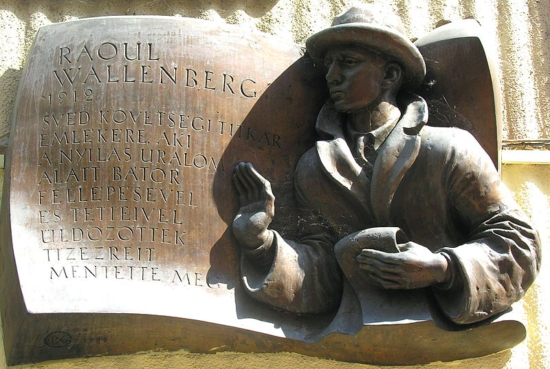 Plaquette ter nagedachtenis aan Raoul Wallenberg, edder van 20.000 tot 100.000 Hongaarse Joden - cc