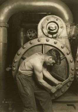 Lewis Hine, Powerhouse Mechanic, 1924. Courtesy of Howard Greenberg