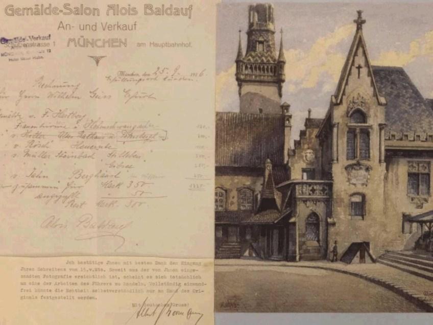 Het aquarel van Hitler met de originele nota (veilinghuis)