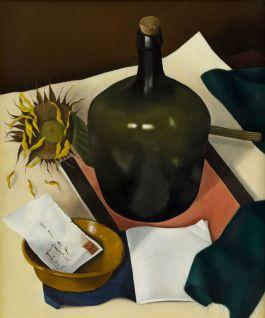 Jan Bor, Stilleven met groene fles, 1943. Olieverf op doek. Collectie Rijksdienst voor het Cultureel Erfgoed, langdurig bruikleen Museum Arnhem. Foto: Peter Cox.