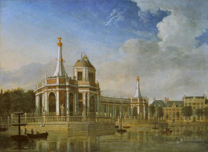 Het ter ere van de Vrede van Aken opgerichte vuurwerkpaviljoen in de Hofvijver (Jan ten Compe, 1749, collectie Haags Historisch Museum)