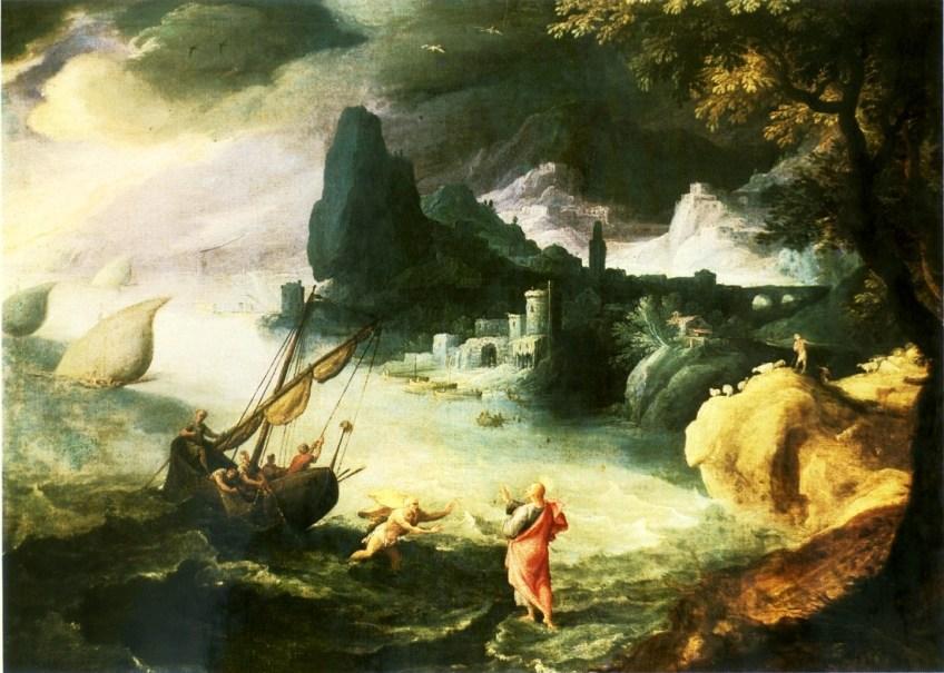 Jezus loopt over het water - Paul Bril, 16e eeuw
