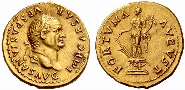 Munt met daarop de beeltenis van Vespasianus