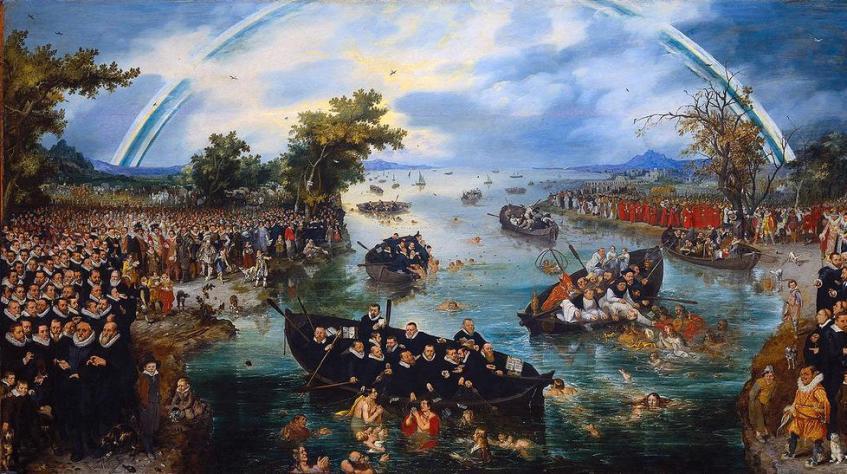 'De Zielenvisserij. Schilderij van Adriaen van de Venne (ca. 1587-1662), Links de Republiek, met Maurits , Willem Lodewijk en predikanten; rechts de aartshertogen met katholieke geestelijken. Ze vissen naar de zielen van gelovigen en worden verbonden met een regenboog.
