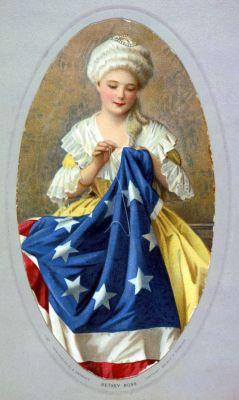 Een naaiende Betsy Ross (G. Liebscher)