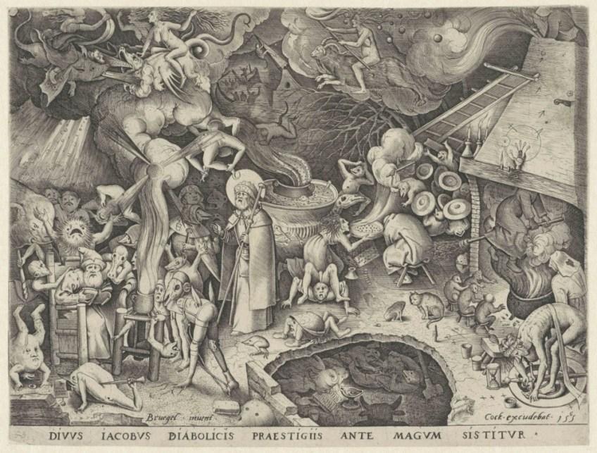 Op het schilderij Jacobus bij de tovenaar van Pieter Bruegel vlogen de heksen op bezemstelen door de schoorsteen.