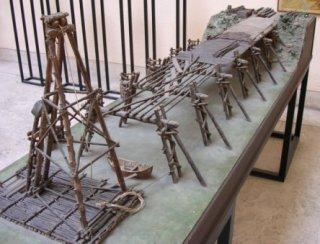 Model van Caesars Rijnbrug (Museo nazionale della civiltà romana, Rome)
