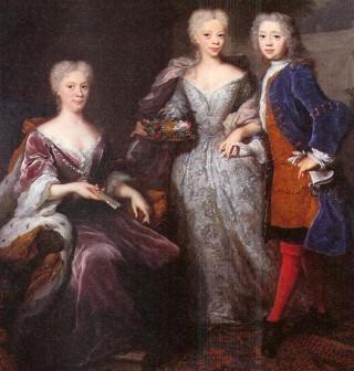 Willem IV met zijn moeder Marijke Meu en zuster Amalia